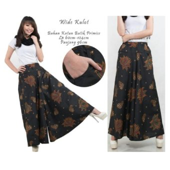 Harga 168 Collection Celana Kulot Rok Lotus Batik Long Pant-Hitam