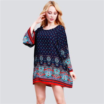 Harga HengSong Ladies Women's Bohemian Vintage Printed Ethnic Style Loose Casual Tunic Dress Navy - intl