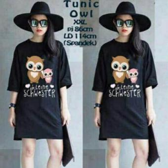 Harga DaveCollection - Dress - Tunik owl - black