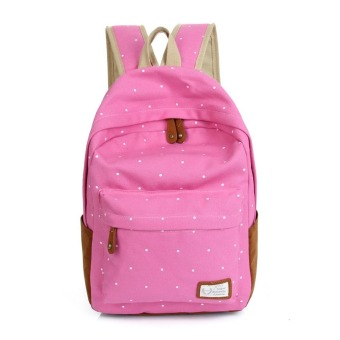 Harga Fashion Unisex Dot Printing Backpack School Book Backpacks Shoulder Bag(Pink)