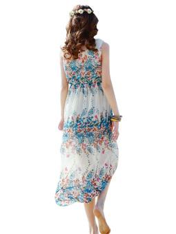 2016 Summer Floral Print Maxi Dresses Women Beach Club Casual Loose Chiffon Sleeveless .