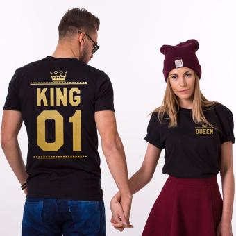 Harga Hequ Shirts Man Short Sleeve O neck Cotton T-shirt King Queen Casual Print Couples Leisure T-shirt Women T shirt Gold - intl