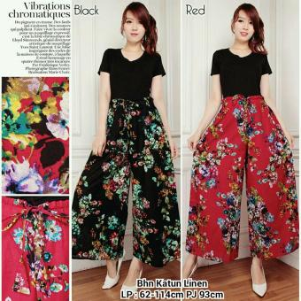 Harga Terbaru 168 Collection Celana Two Flower Kulot Rok Pant-Merah