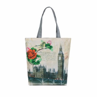 Harga London Big Ben Canvas Tote Casual Beach Bags Women Shopping Bag Handbags - intl