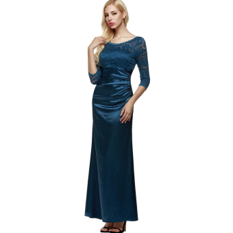 Harga Cyber ANGVNS Women 3/4 Sleeve Lace Padded Party Wedding Cocktail Party Evening Dress (Blue) - intl