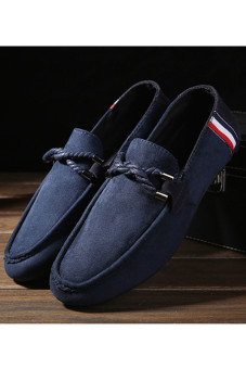 Harga Men's Casual Suede Loafer Shoes Casual Moccasins Driving Shoes Blue