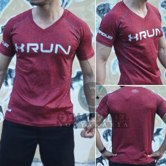 Harga Kaos Tshirt Baselayer Under armour Mens Exercise Sport Compression Tight Misty V-neck run drifit (maroon)