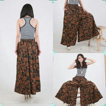 SB Collection Celana Kulot Rok Batik kanza Wide Jumbo Long Pant Coklat .