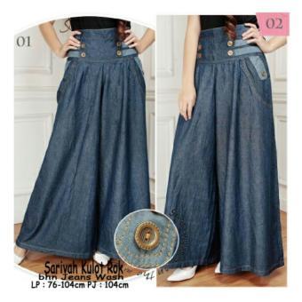 Harga Dan Spesifikasi 168 Collection Celana Sakirah Kulot Rok Jeans Biru Terbaru Bulan Ini Maret 2018