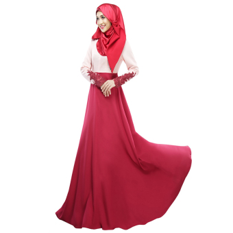 Harga Cocotina Muslimah Maxi Dress Lace Spliced Long Sleeve Ethnic Muslim Wear (Red)