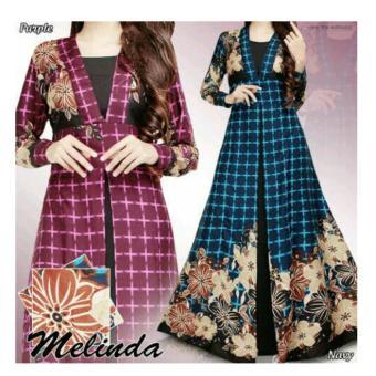 369 Long Maxi Dress Katun Printing Melinda Motif Flower - Biru