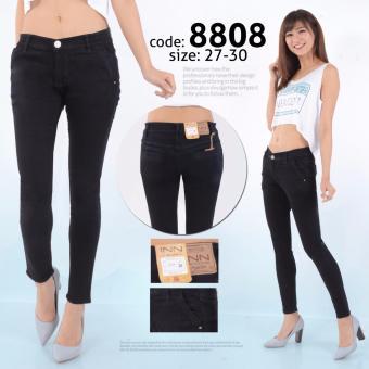 INN - Celana Jeans Wanita Berbahan Denim Kantong Bobox Murah - Hitam