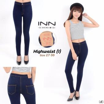 INN - Celana Jeans Haigh Waist Berbahan Soft jeans Denim Street - Navy