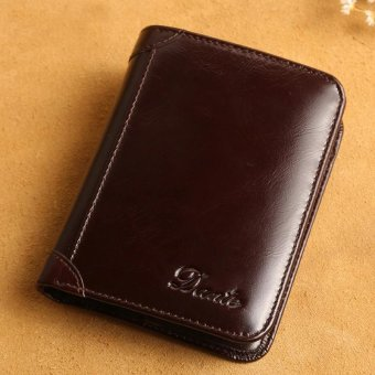 Italian Grade A COW Leather Thin Business Casual Large Capacity Wallets (coffee) - intl