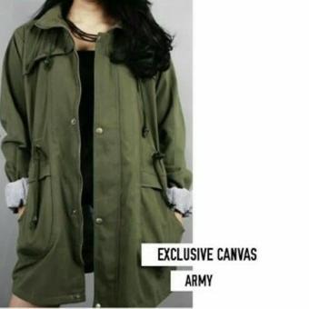 Jacket Parka Hijau Army Cewe Kanvas Premium