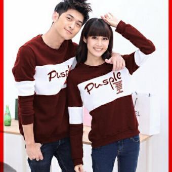 Jakarta Couple - Sweater Pasangan Pusple Maroon Putih