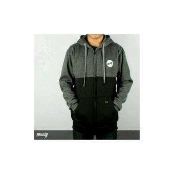 Jaket Bloods Abu - Hitam Hoodie Distro Fleece
