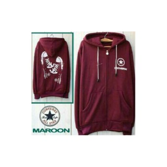Jaket Convese Shoes Maroon Hoodie Distro Fleece