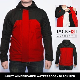 Jaket Motor Harian Parasut Windbreaker Outdoor Anti Air Tahan Angin - Hitam Merah