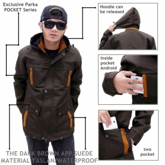 Jaket parka pria waterproof pocket ( dark brown )