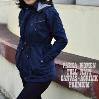 Jaket Parka Wanita - Canvas - Bolak-Balik - Merah QDS