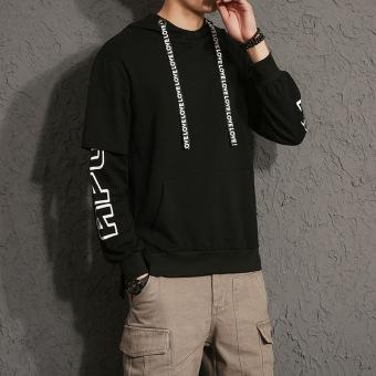 Jalan Laki-laki Berkerudung Siswa Longgar Hoodie Versi Korea dari Sweater ( Hitam)
