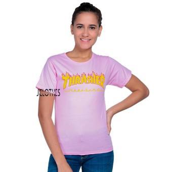 JCLOTHES Kaos Cewe / Tumblr Tee / Kaos Wanita Fire Trasher - Pink