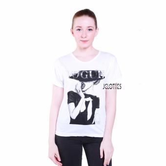 JCLOTHES Kaos Cewe / Tumblr Tee / Kaos Wanita Black Hat Woman - Putih