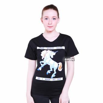 JCLOTHES Kaos Cewe / Tumblr Tee / Kaos Wanita Unicorn - Hitam