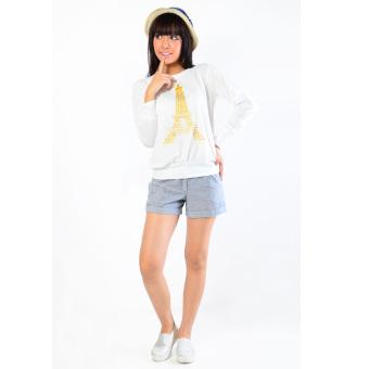 Jfashion Women's Tshirt Print Paris Long Sleeve - Putih