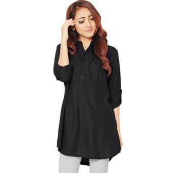JO & NIC Kemeja Tunik Lengan Panjang 3 size M/L/XL - Black