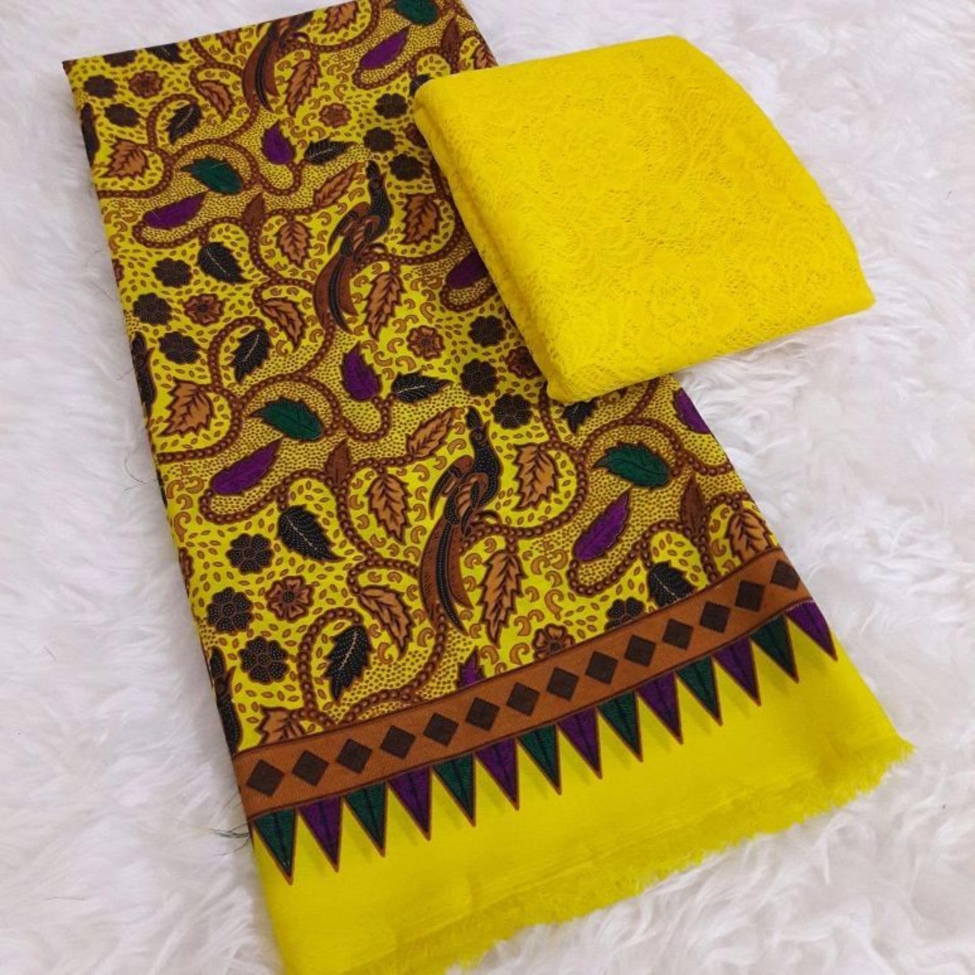 kanaya – kain satin lembaran kebaya bali setelan brokat motif batik kumkum – kuning kebaya pengantin wisuda pesta