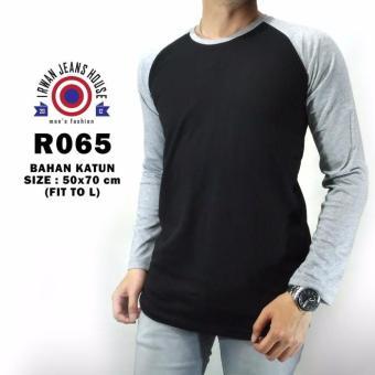 Kaos Baju Tshirt Pria Cowok Raglan Reglan Lengan Tangan Panjang - B76C73