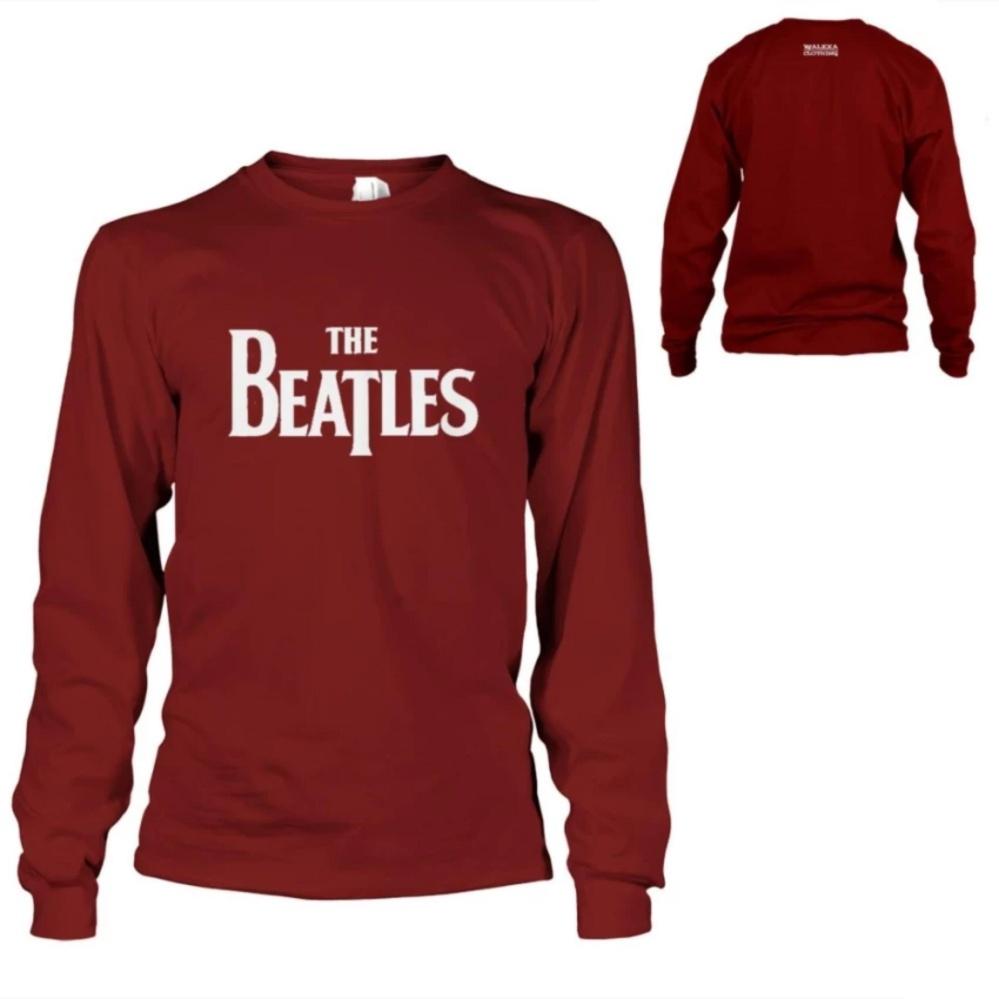 Bandingkan Toko Kaos The Beatles T-Shirt Lengan Panjang - Maroon harga baru - Hanya