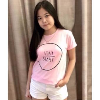 KaosBro - Kaos Cewek / T-Shirt Wanita / Tumblr Tee Stay Simple - Pink