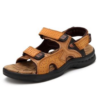 Sepatu Sandal Pria Kulit Sapi Bersirkulasi Udara Santai (1215 Warna Kuning  Emas) (1215 a4947c55fb