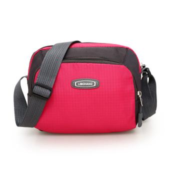 Kebugaran luar ruangan Waterproof Oxford kain musim panas Mini handphone tas tas wanita (Mawar merah
