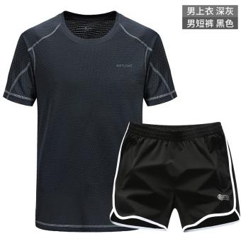 Kebugaran nyaman celana pendek pria celana pendek musim panas ayat t-shirt (Laki-