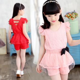 Celana Pendek Korea Fashion Style Anak Kecil Baru Sayang (Merah muda)