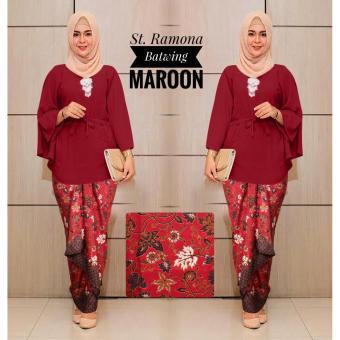 Kembar Stelan Blouse Batwing Plus Rok Lilit Ramona Maroon ( Tanpa Pasmina)