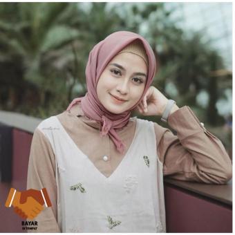 Kerudung Hijab Segiempat Cotton Rawis Import - Dusty Pink