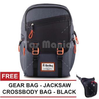 Tas Ransel Key Bag Berlin Bodygers Series Dailypack Tas Laptop Backpack -  Grey + FREE Tas 89f2f64253