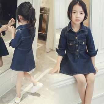 Koboi Baru Anak Perempuan Kecil Setengah Panjang Model Rok Gadis Lengan Panjang Gaun (Biru Tua