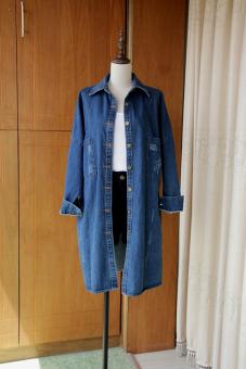 Korea Baru Musim Semi Angin Setengah Panjang Model Saku Perempuan Atasan Koboi Jaket Angin Jas (