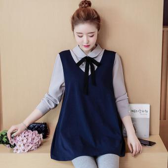 Korea Modis Gaya Baju Dalaman Gaun Wanita Hamil Atasan (Biru Tua)