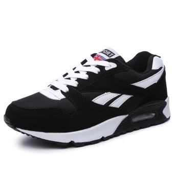 Korea Fashion Style Bantalan Udara Basket Sepatu Running Bernapas Sepatu (A2020 # hitam dan putih