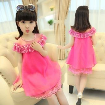 Korea Fashion Style baru anak-anak gadis kecil sifon gaun putri gaun (Mawar merah