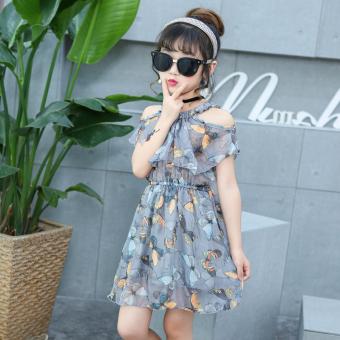 Anak prempuan gaun pakaian musim panas 2017 model baru Gaya Korea besar perawan modis musim panas