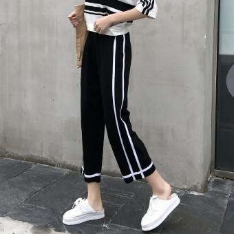 Sembilan Celana Wanita Bergaris Celana Olah Raga Korea Fashion Style Baru ( Hitam)