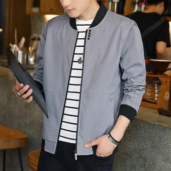 Korea Fashion Style Ditambah Beludru Laki-laki Model Slim Tebal Jaket Jaket Pria (Abu